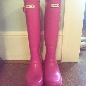 Hunter boots gloss pink size 8